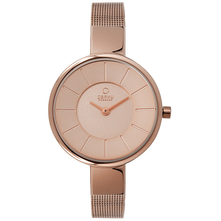 Obaku Ladies' Rose Gold Plated Mesh Bracelet Watch - Product number 2925214