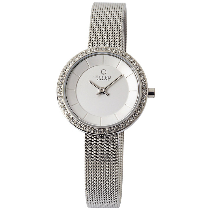 Obaku Ladies' Stone Set Silver Tone Mesh Watch - Product number 2925516