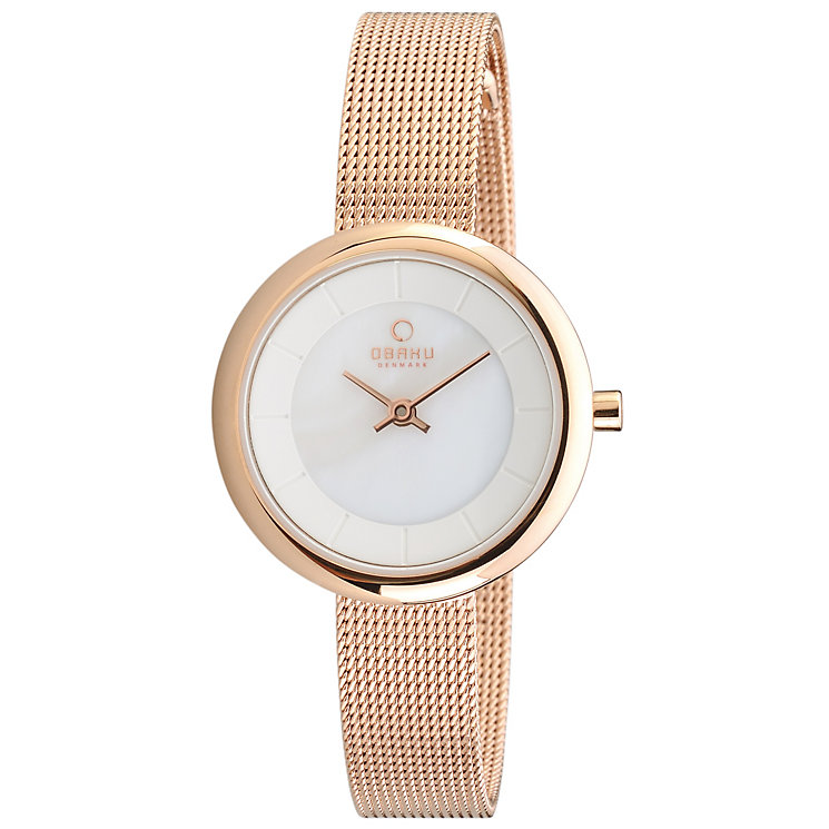 Obaku Ladies' White Dial Rose Gold Tone Mesh Bracelet Watch - Product number 2925524