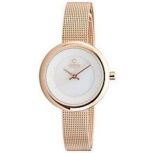 Obaku Ladies' White Dial Rose Gold Tone Mesh Bracelet Watch - Product number 2925524