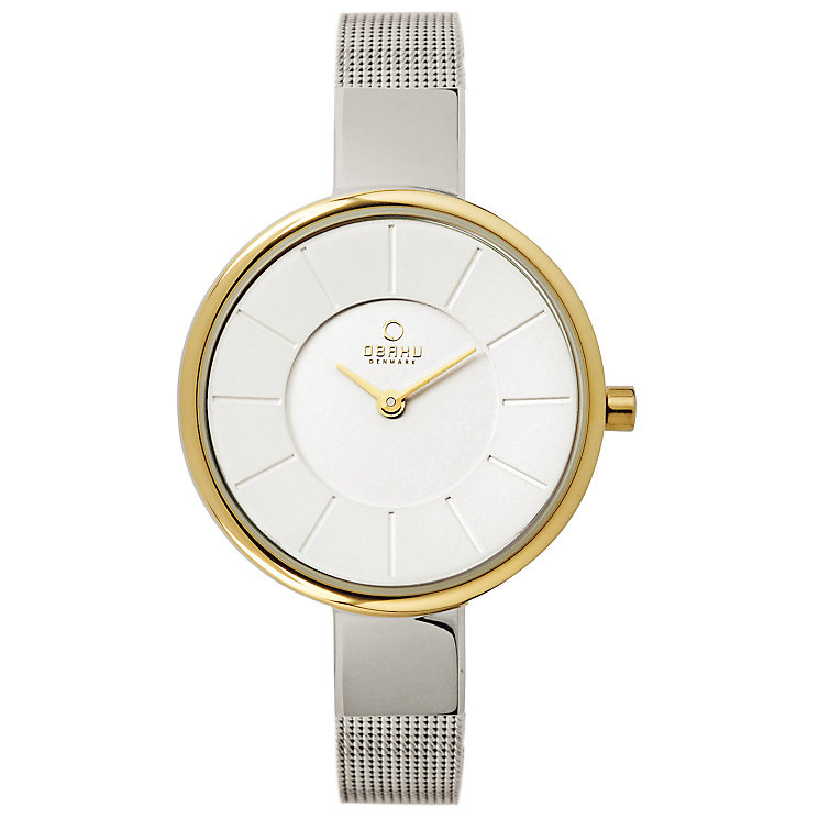 Obaku Ladies' White Dial & Two Tone Mesh Bracelet Watch - Product number 2925842