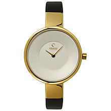 Obaku Ladies' Yellow Gold Plated & Black Leather Watch - Product number 2925877