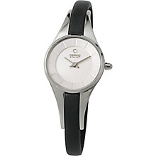 Obaku Ladies' Stainless Steel & Black Leather Strap Watch - Product number 2925885