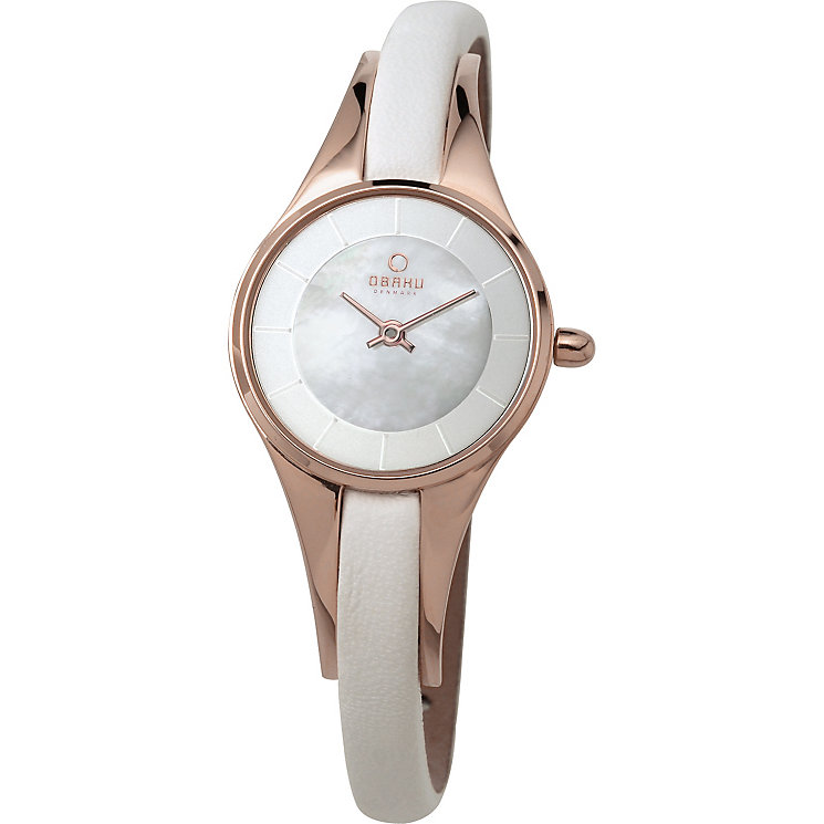 Obaku Ladies' Rose Gold Plate & White Leather Strap Watch - Product number 2925893
