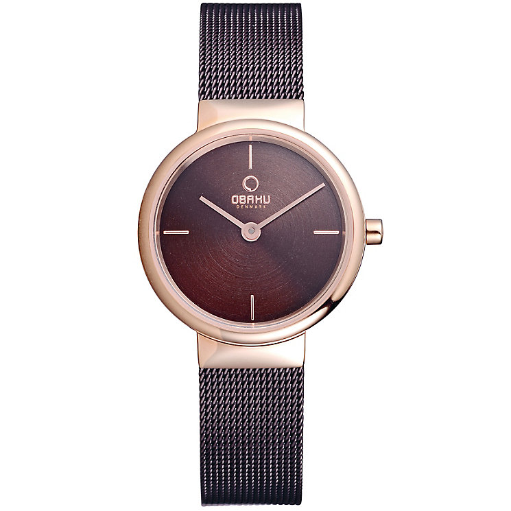 Obaku Ladies' Rose Gold Plate & Brown Mesh Bracelet Watch - Product number 2925915