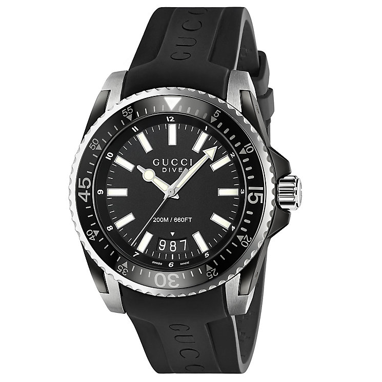 Gucci Dive 45 men's black rubber strap watch - Product number 2925931
