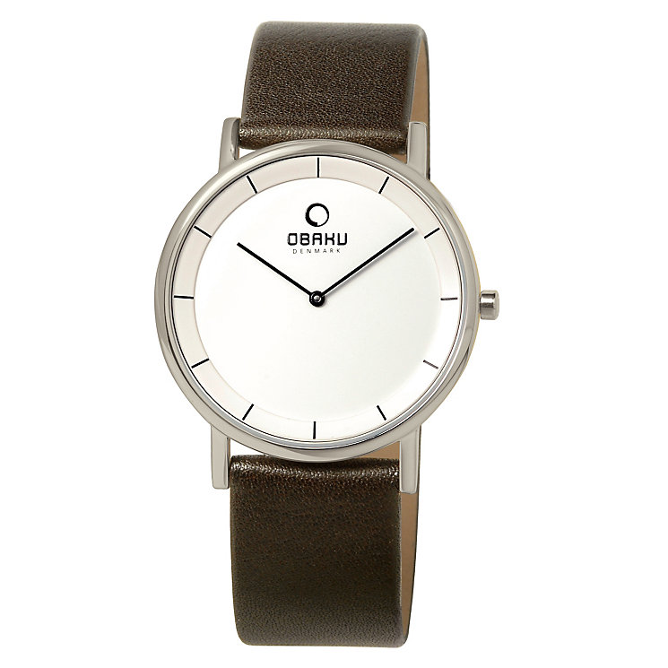 Obaku Men's Stainless Steel & Black Leather Strap Watch - Product number 2926024