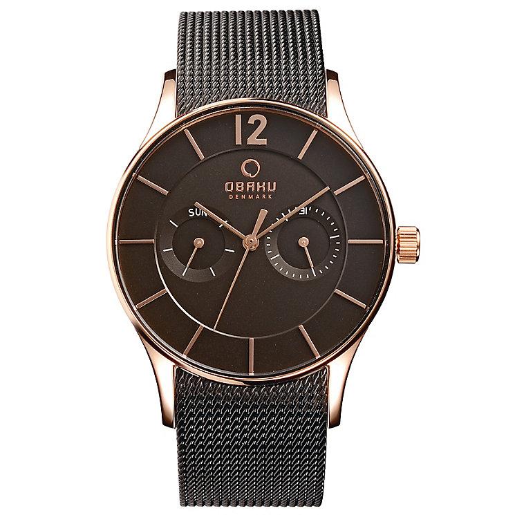 Obaku Men's Rose Gold Plate & Brown Mesh Bracelet Watch - Product number 2926059