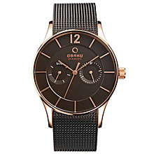 Obaku Men's Rose Gold Plate & Brown Mesh Bracelet Watch - Product number 2926059