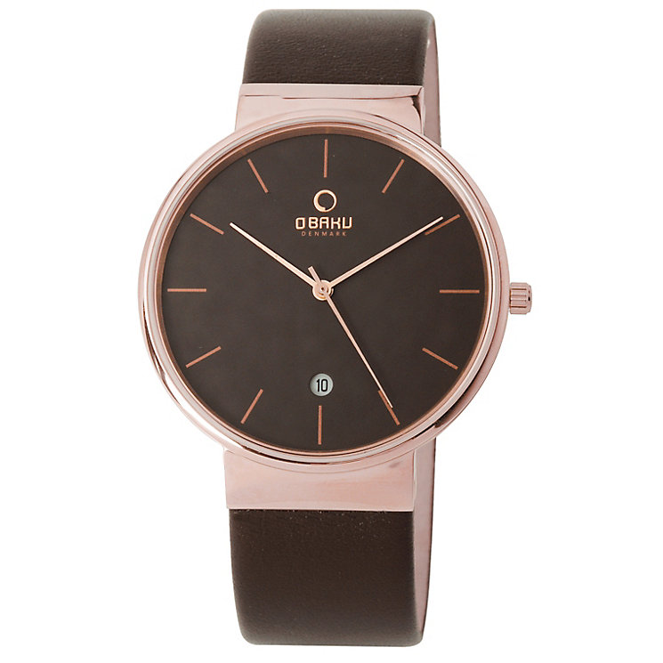 Obaku Men's Rose Gold Plate & Brown Leather Strap Watch - Product number 2926156