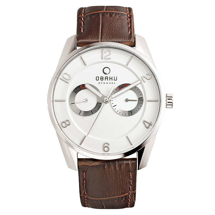 Obaku Men's Stainless Steel & Brown Leather Strap Watch - Product number 2926369