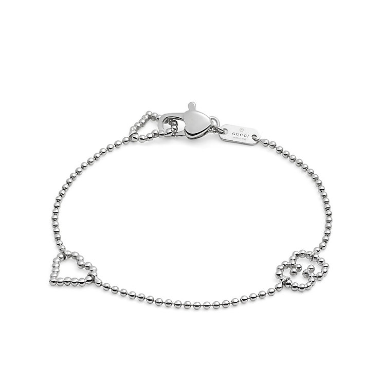 Gucci Boule sterling silver heart & GG bracelet - Product number 2926652