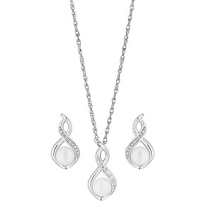 Silver, Diamond & Pearl Twist Earrings & Pendant Set - Product number 2926954