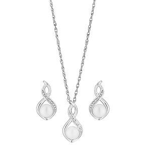 Silver, Diamond & Pearl Twist Earrings & Pendant Set - Product number 2926954