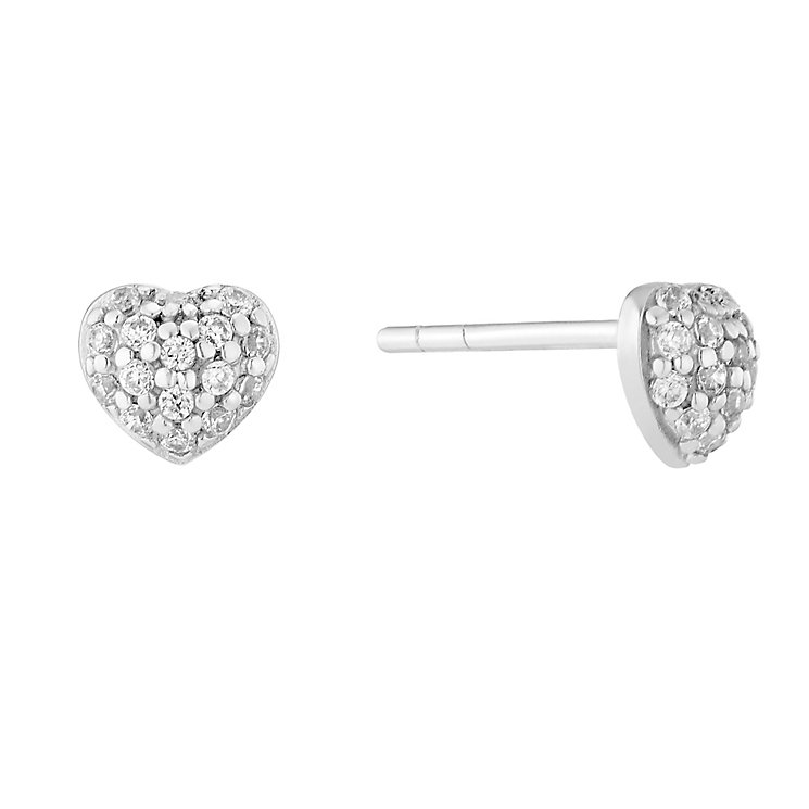 Sterling Silver & Cubic Zirconia Heart Stud Earrings - Product number 2931265