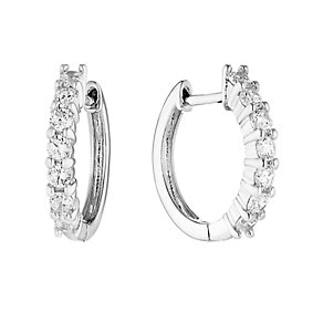 Sterling Silver & Crystal Round Hoop Earrings - Product number 2931273