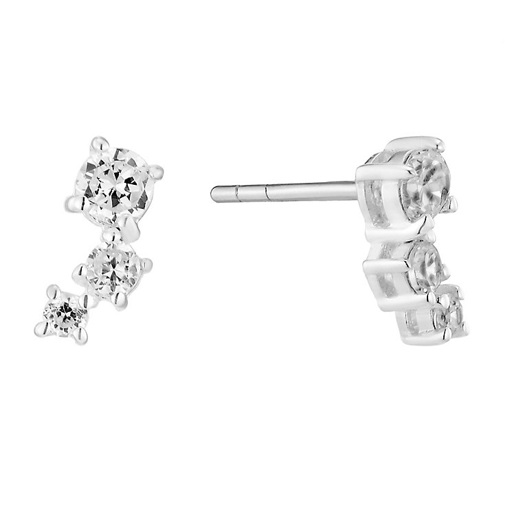 Sterling Silver & Three Cubic Zirconia Drop Earrings - Product number 2931281