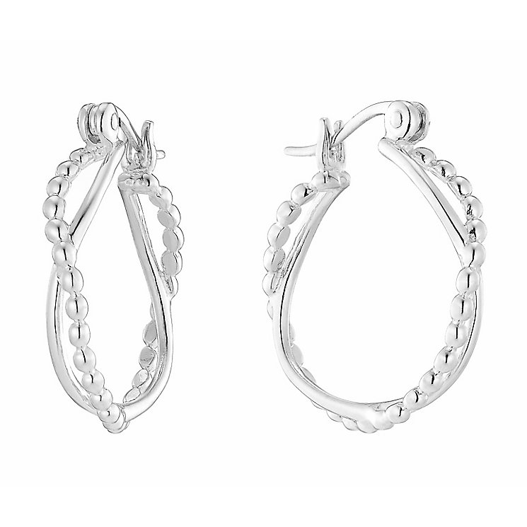 Sterling Silver Beaded Crossover Double Hoop Earrings - Product number 2931346