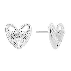 Sterling Silver & Cubic Zirconia Wing Heart Stud Earrings - Product number 2931389