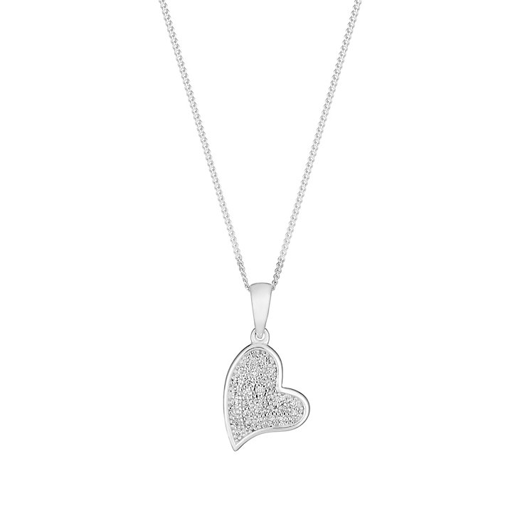 Sterling Silver & Crystal Pave Set Heart Pendant - Product number 2931613