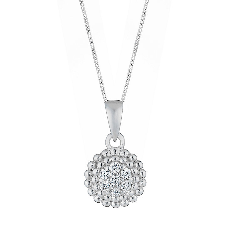 Sterling Silver & Cubic Zirconia Circular Drop Pendant - Product number 2931648