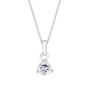 Sterling Silver & Cubic Zirconia Solitaire Pendant - Product number 2931664