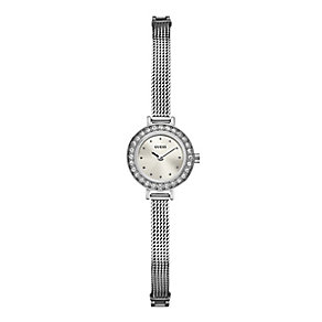 Guess Ladies' Crystal Stainless Steel Mesh Strap Watch - Product number 2931680