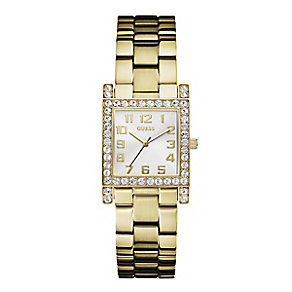 Guess Ladies' Crystal Set Gold-Plated Bracelet Watch - Product number 2931699