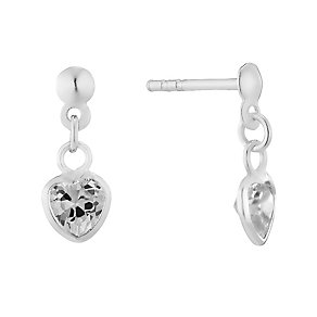Sterling Silver & Cubic Zirconia Heart Drop Earrings - Product number 2931702