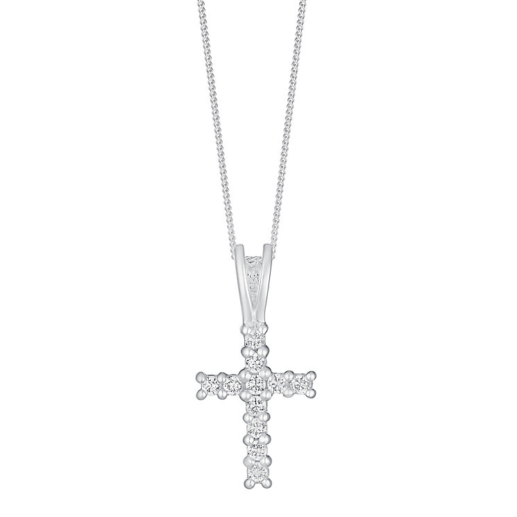 Sterling Silver & Cubic Zirconia Claw Set Cross Pendant - Product number 2931710