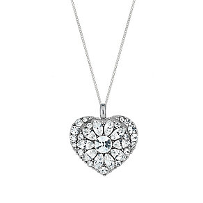Sterling Silver & Crystal Baroque Heart Pendant - Product number 2931834