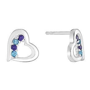 Sterling Silver & Cubic Zirconia Heart Stud Earrings - Product number 2931885