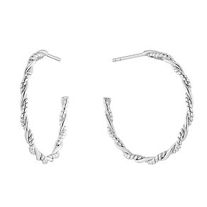 Sterling Silver Beaded Twist Hoop Earrings - Product number 2932067