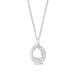 Sterling Silver & Cubic Zirconia Tear Drop Pendant - Product number 2932091
