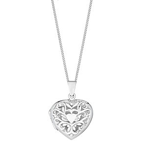 Sterling Silver Large Filigree Heart Locket - Product number 2932164