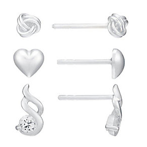 Silver Heart, Knot & Cubic Zirconia Swirl Stud Earring Set - Product number 2932202