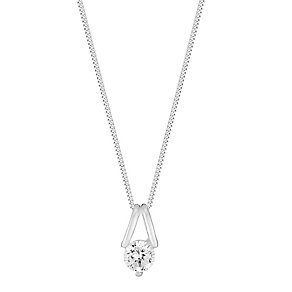 Sterling Silver & Cubic Zirconia Solitaire Pendant - Product number 2932261