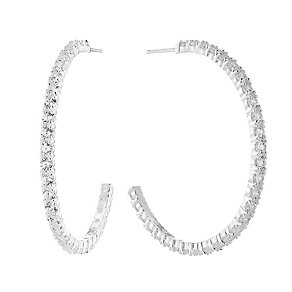 Sterling Silver & Cubic Zirconia Large Hoop Earrings - Product number 2932377