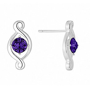 Sterling Silver & Purple Crystal Twist Stud Earrings - Product number 2932385