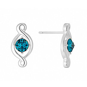 Sterling Silver & Teal Crystal Twist Stud Earrings - Product number 2932393
