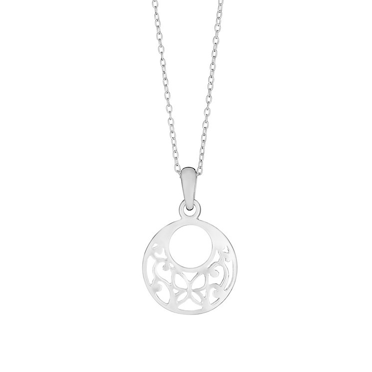 Sterling Silver Round Cut Out Flower Pendant - Product number 2932407