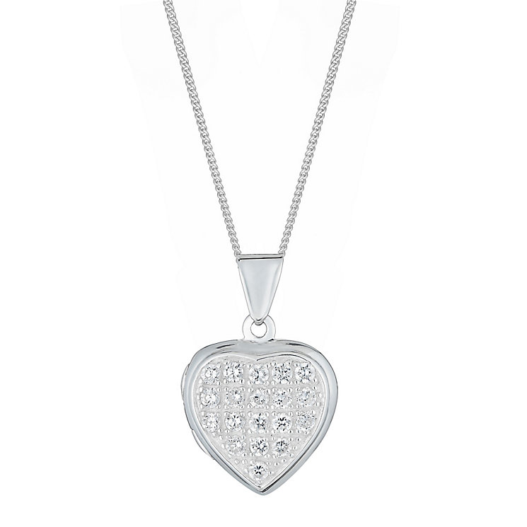 Sterling Silver & Cubic Zirconia Heart Locket - Product number 2932423