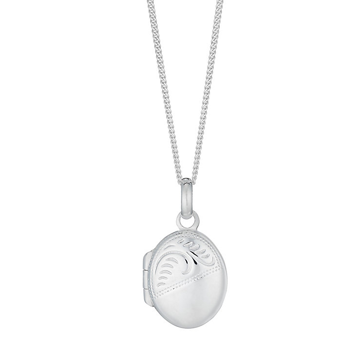 Sterling Silver Small Engraved Oval Locket - Product number 2932431