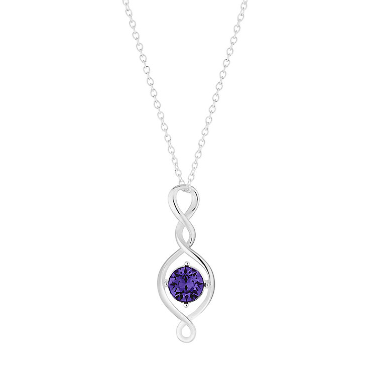 Sterling Silver & Purple Crystal Twist Drop Pendant - Product number 2932504