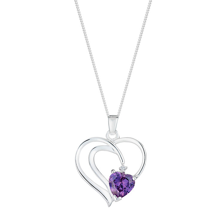 Sterling Silver & Purple Crystal Twist Heart Pendant - Product number 2932512