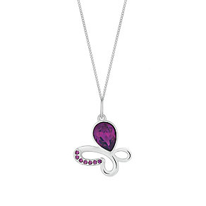 Sterling Silver & Purple Crystal Butterfly Pendant - Product number 2932555