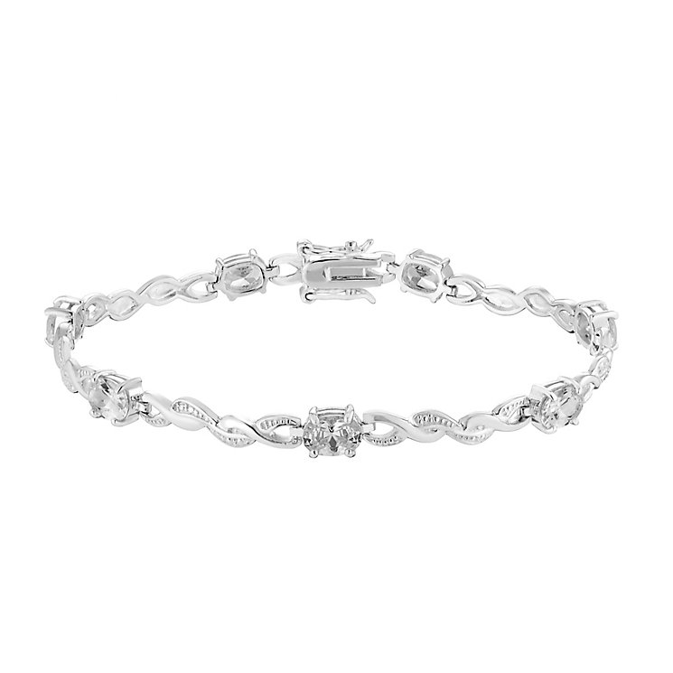 Sterling Silver & Oval Cubic Zirconia Twist Bracelet - Product number 2932571