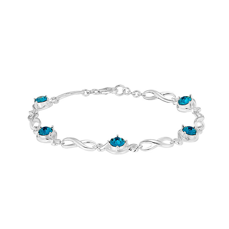 Sterling Silver & Teal Cubic Zirconia Infinity Bracelet - Product number 2932652