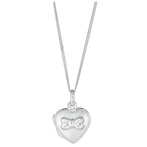 Sterling Silver Bow Detail Heart Locket - Product number 2932717
