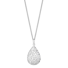Sterling Silver Cut Pear Shaped Floral Pendant - Product number 2932733